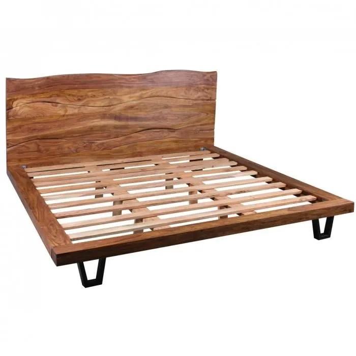 cadre de lit 180 x 200 cm en bois massif sheesham avec sommier