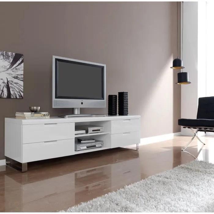 mode meuble tv en bois laque avec 4 portes et etageres