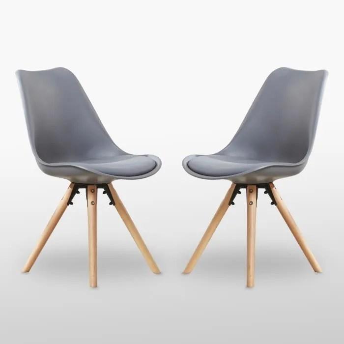 chaise lot de 2 chaises scandinaves grises sophie assis