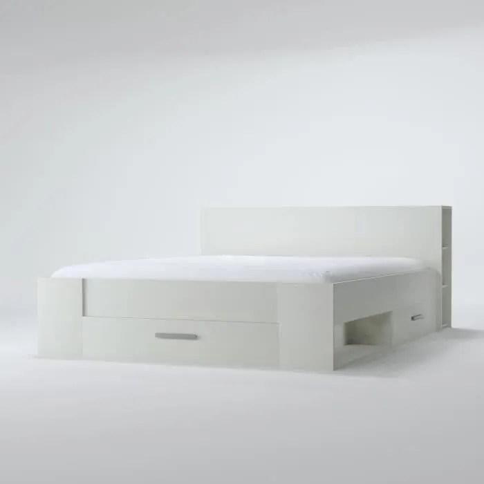 oxygene lit adulte contemporain blanc mat l 140 x l 190 cm