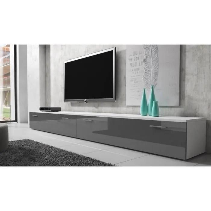 boston meuble tv contemporain decor blanc et gris 300 cm