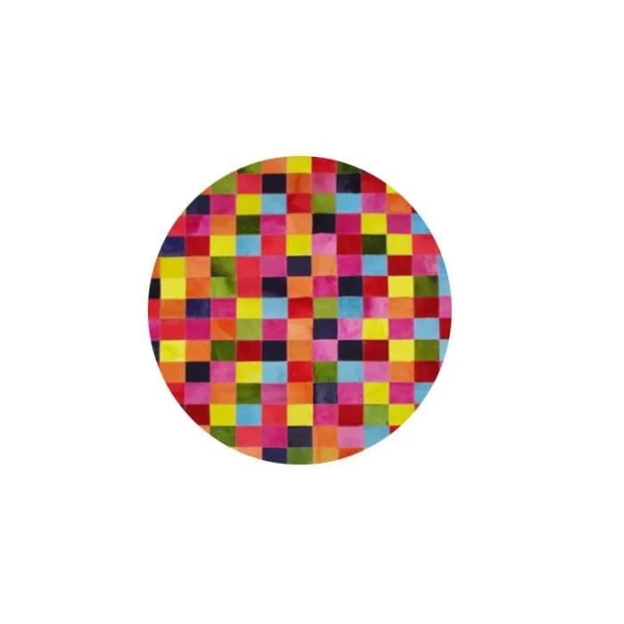 stacha tapis rond patchwork de peaux de vache multicolore 2 m