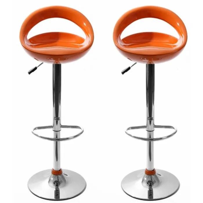 Tabourets De Bar Snack Orange Lot De 2 Achat Vente