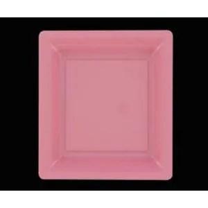 assiette jetable 12 assiettes carrees rose pastel