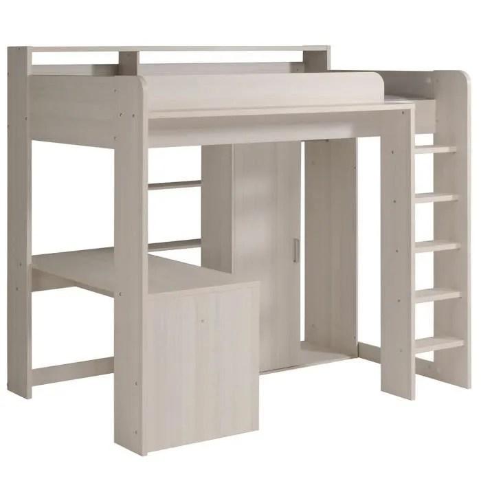 king lit mezzanine 90x200 cm beige