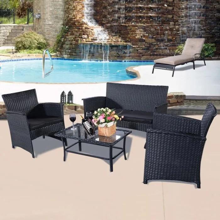 4pc rotin meubles de jardin rotin tressee table et chaises patio veranda neuf