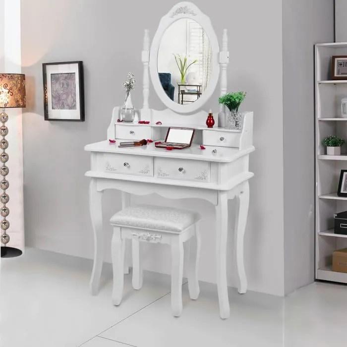 songmics coiffeuse blanche a 4 tiroirs avec 2 separateurs un miroir et un tabouret 75 x 40 x 143 5 cm rdt12w