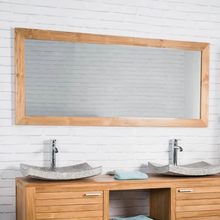 Grand Miroir Rectangle En Teck Massif 160 X 70 Achat