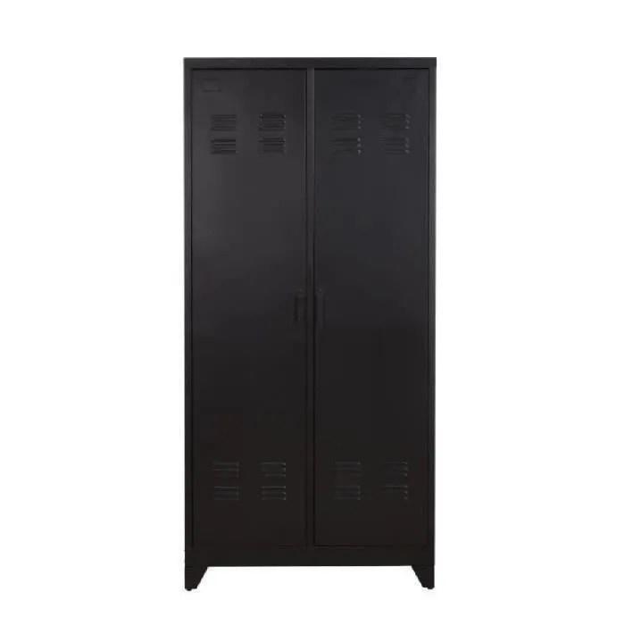 camden armoire vestiaire style industriel en metal noir laque l 85 cm
