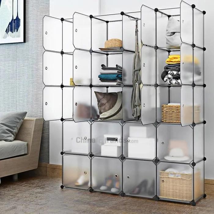 20 cube s emboitant le support modulaire d armoire de garde robe de systeme de rayonnage d organisateur de stockage avec des portes