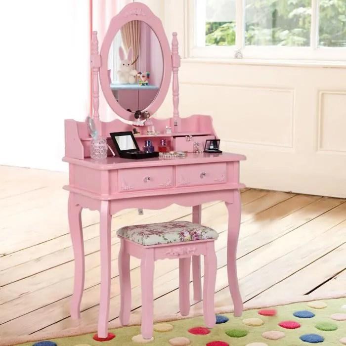 Songmics Coiffeuse Table De Maquillage Rose Avec Tiroirs