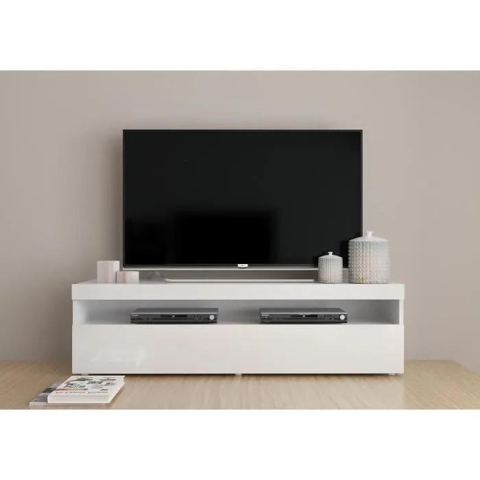 FINLANDEK Meuble TV Contemporain Laqu Blanc L 130 Cm