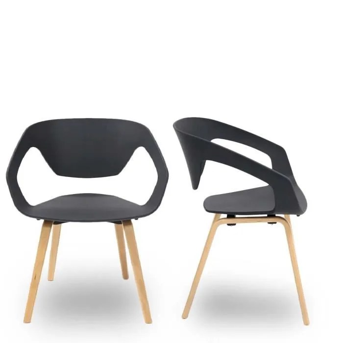 lot de 2 chaises design scandinave danwood couleur noir