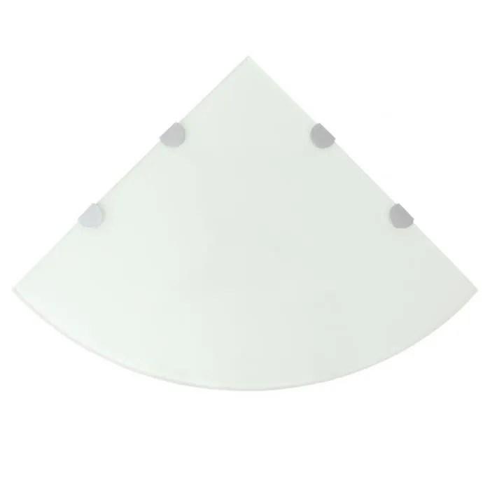 vidaxl etagere de coin avec supports chromes verre blanc 45 x 45 cm