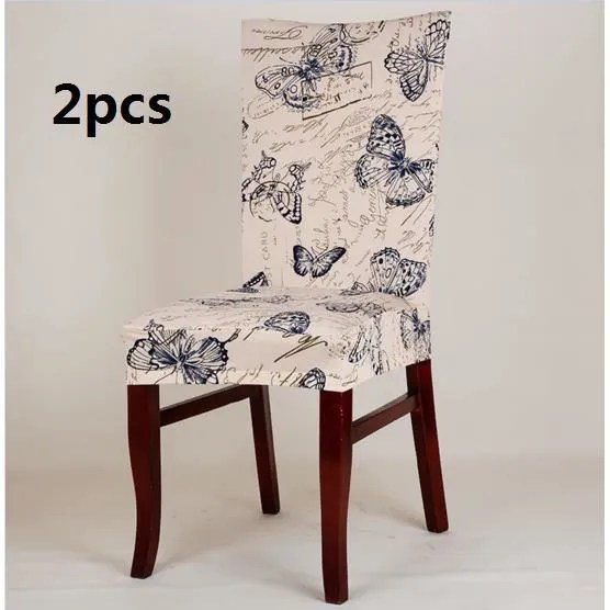 housse de chaise 2 pcs papillon bleu antifouling menage hotels pa