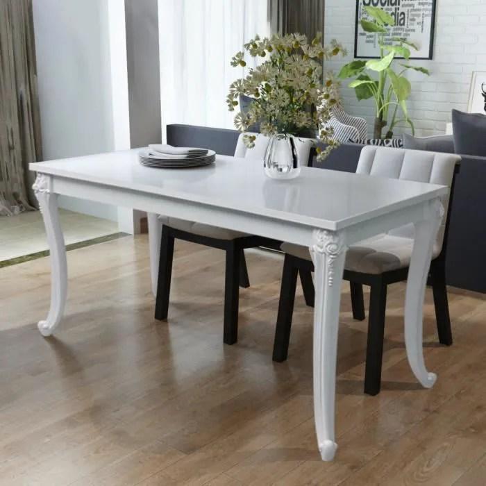 vidaxl table de salle a manger 120 x 70 x 76 cm laquee blanc