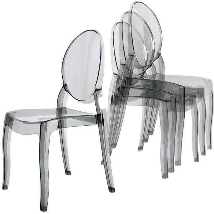 chaise lot de 4 chaises transparent gris en plexi ronda