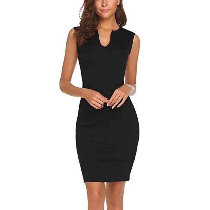 vetements pour femmes au bureau de travail sans manches col en v robe moulante crayon noir