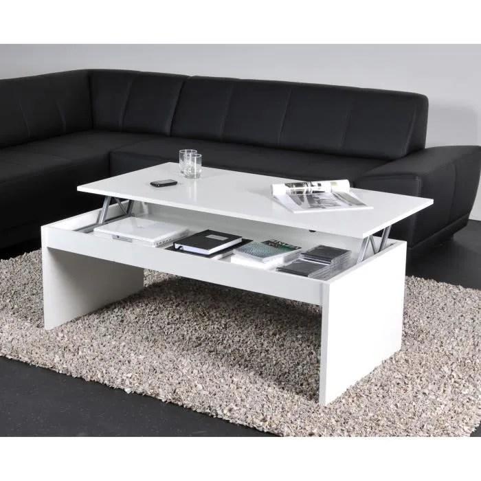 DARWIN Table Basse Plateau Relevable Blanc 120x60 Achat