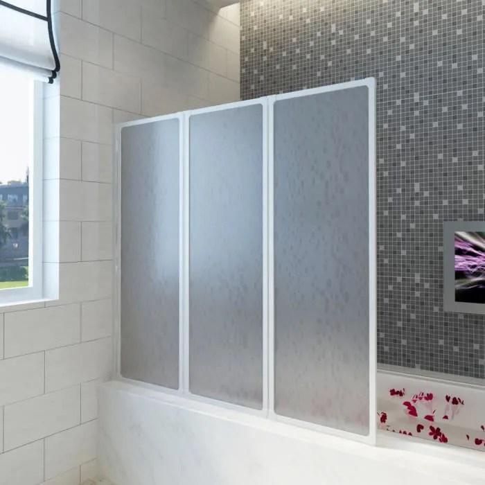 117 x 120 cm pare baignoire a 3 panneaux retractables porte pour salle de bain