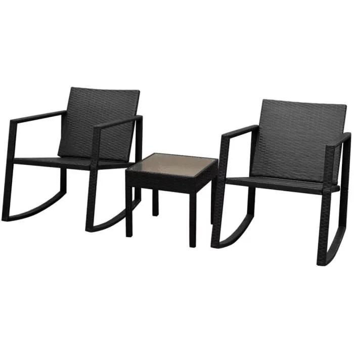 salon de jardin mobilier d exterieur 3 pcs noir resine tressee