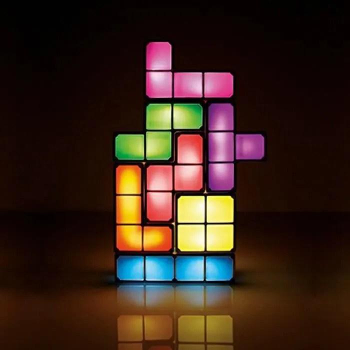 tetris puzzle lampe de bureau led constructible bloc tableau decoratif empilables nuit light diy retro game style