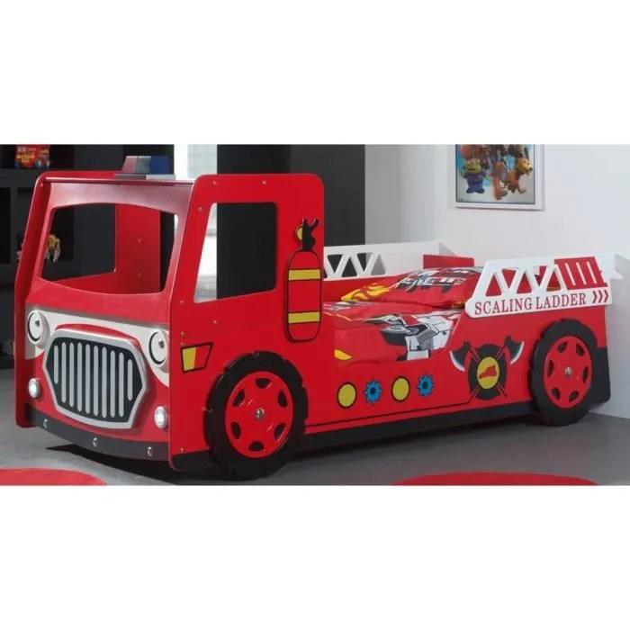 fun lit enfant camion pompier rouge