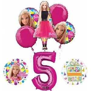 ballon decoratif fournitures de fete barbie 5e anniversaire et deco