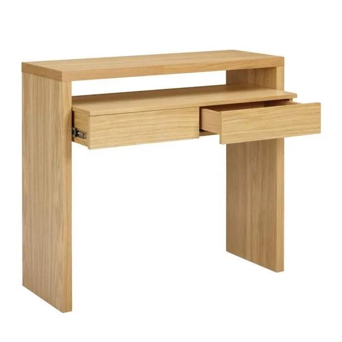 bureau console bois 2 tiroirs blum couleur chene
