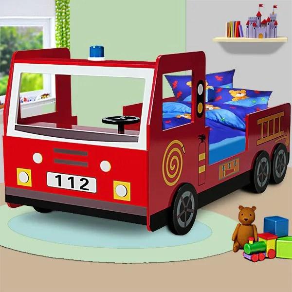 lit enfant design camion pompier avec sommier
