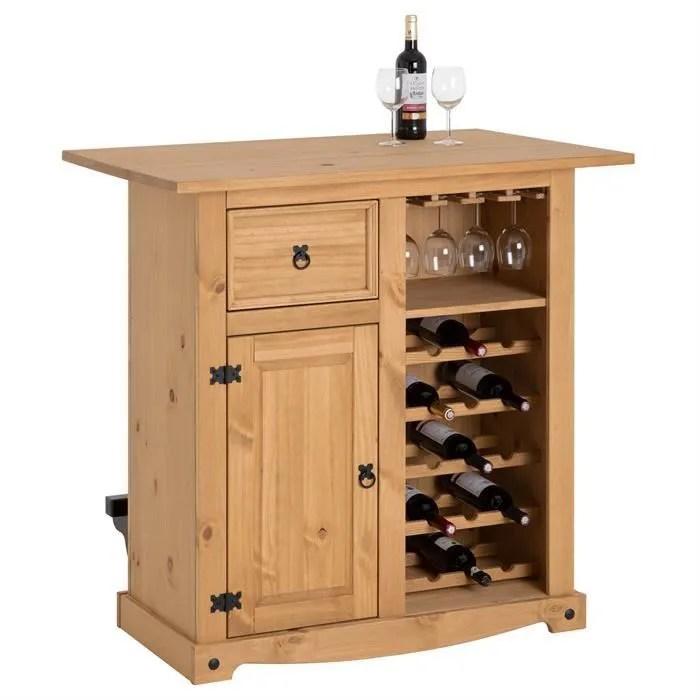 table haute de bar tequila mange debout comptoir bar a vin avec range bouteilles verres ilot central style mexicain pin massif cire