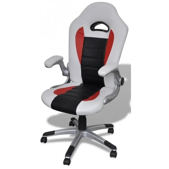 fauteuil de bureau sport cuir blanc noir 0502005