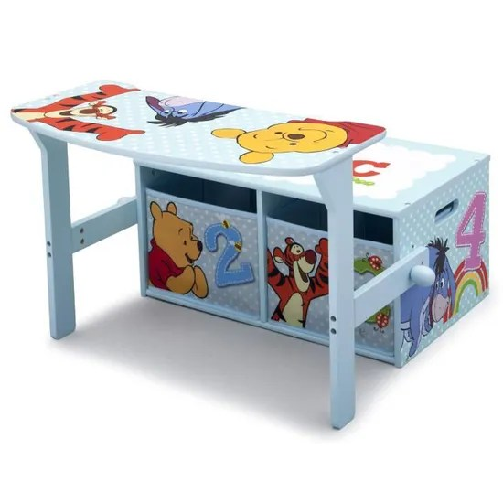 winnie l ourson bureau banc enfant convertible avec rangements achat vente bureau bebe enfant bureau convertible avec rangem bois cdiscount