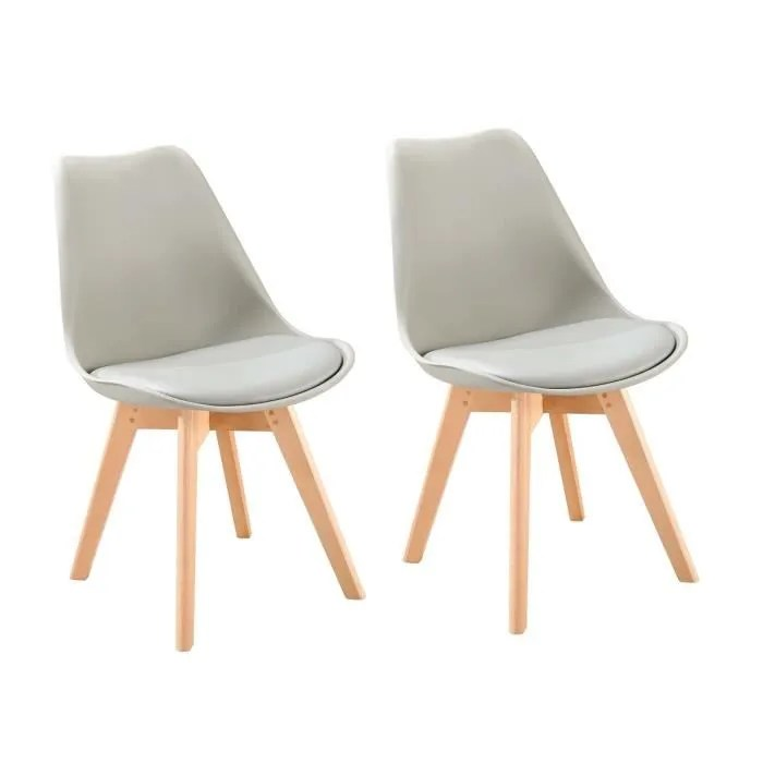 bjorn lot de 2 chaises de salle a manger simili gris scandinave l 48 x p 57 cm