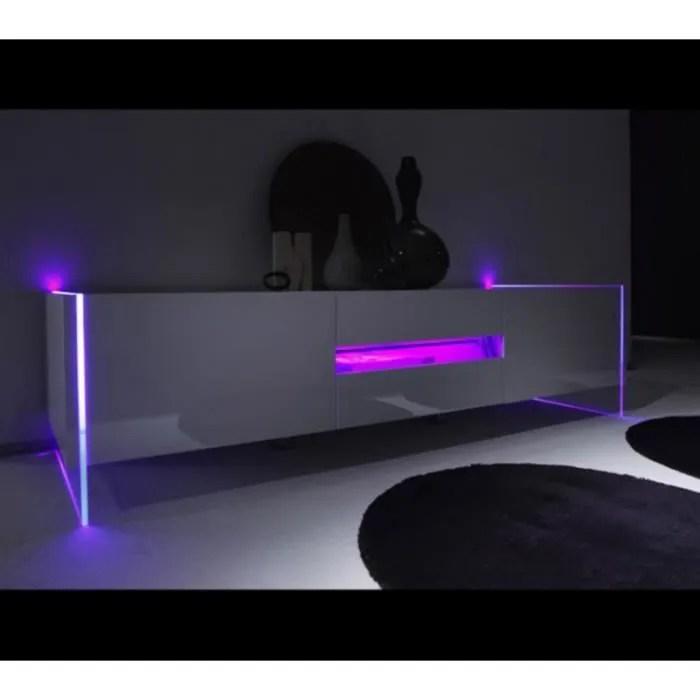 Meuble Tv Blanc Laque Design Led Multicolores Achat