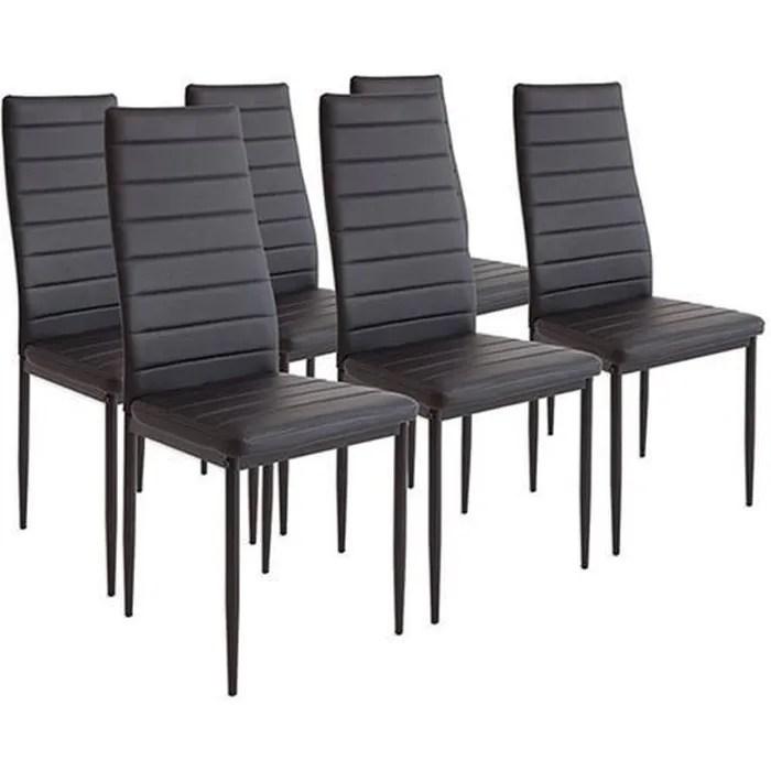 chicago lot de 6 chaises de salle a manger noir chaises de cuisine