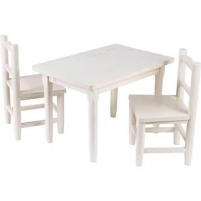 table et 2 chaises pour enfants en pin blanchi