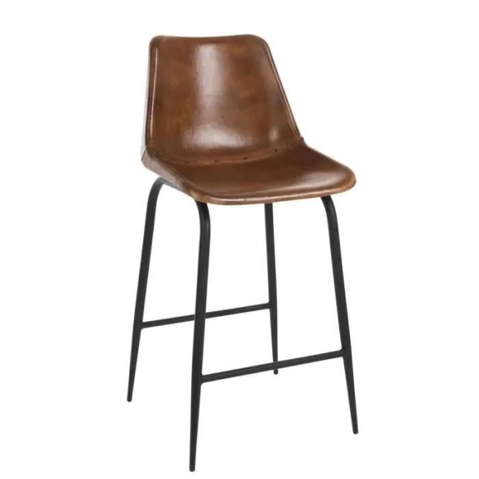 chaise bar cuir et metal cognac marron