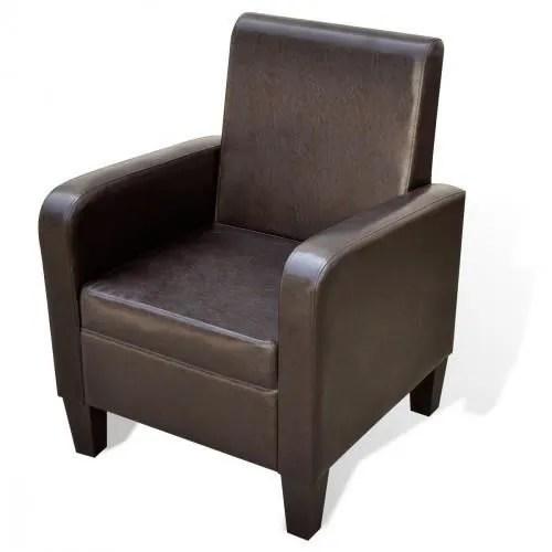 fauteuil fauteuil rembourre en cuir synthetique marron