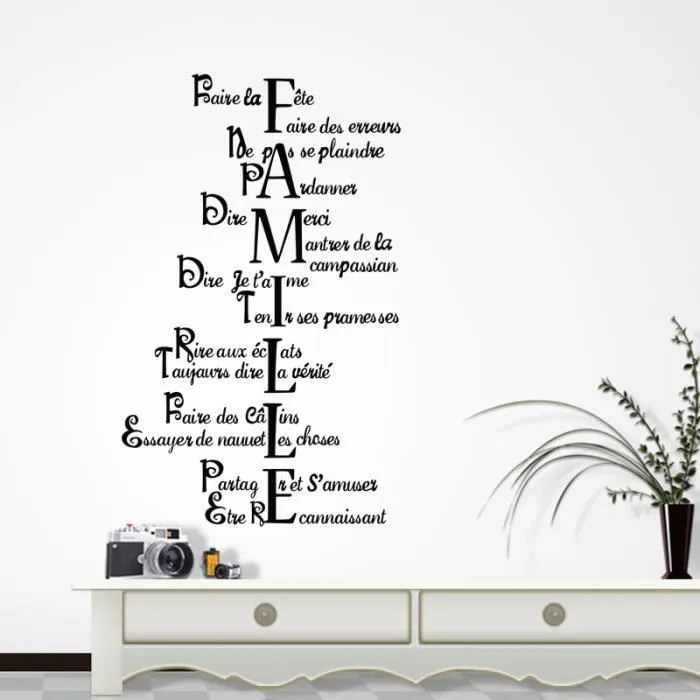 Sticker Mural Citation Famille Amour Vie Pour Hall Salon