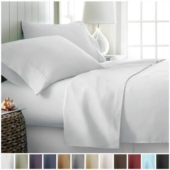 ciel de lit ensemble de draps en coton et en coton confortable