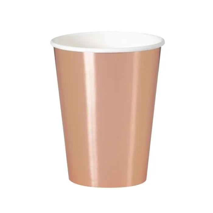 verre jetable 8 gobelets en carton rose gold 25 cl
