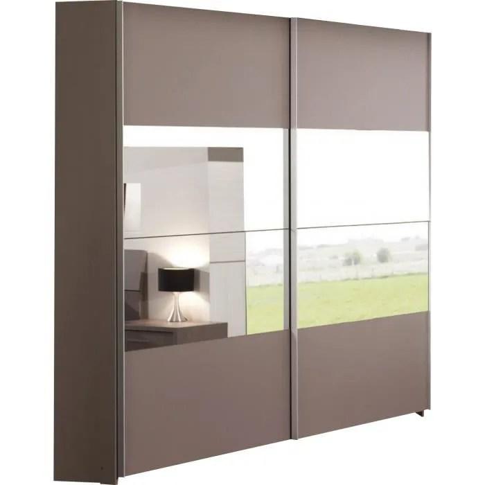 armoire 200x216 cm a 2 portes miroirs coulissantes coloris basalte gris