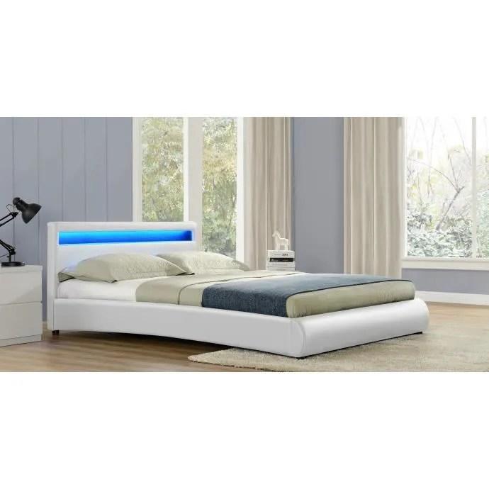 le romantiqueblanc cadre de lit led en simili 140 x 190 cm