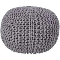 descriptif pouf en tricot rond gris fonce