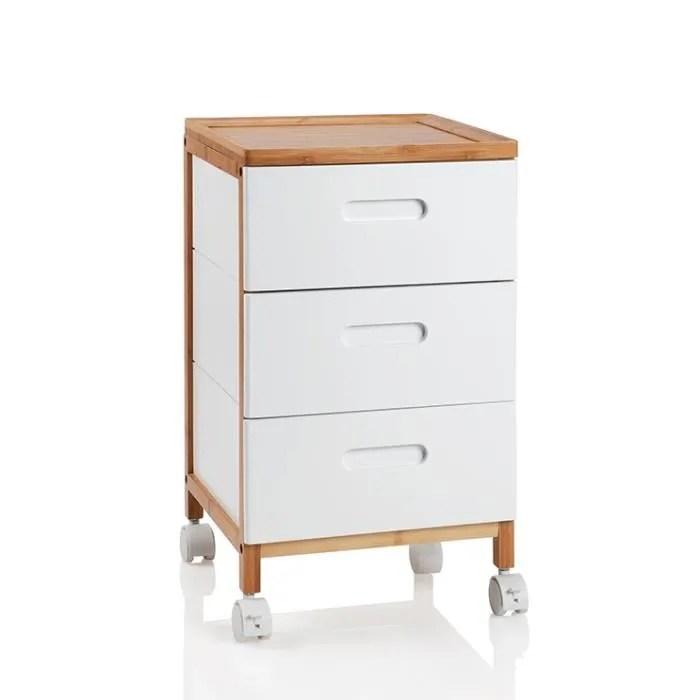 meuble d appoint a roulettes bambou et laque blanc l32 cm