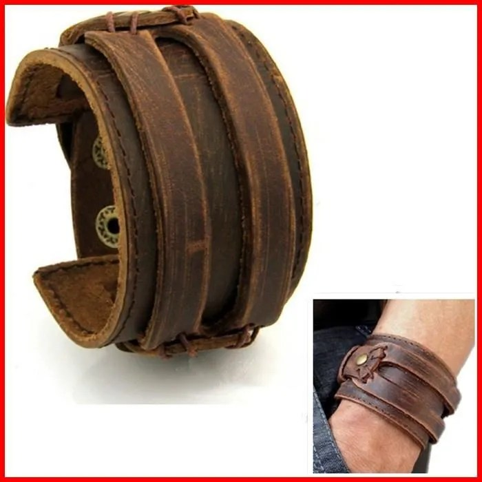 bracelet cuir homme force manchette marron antique