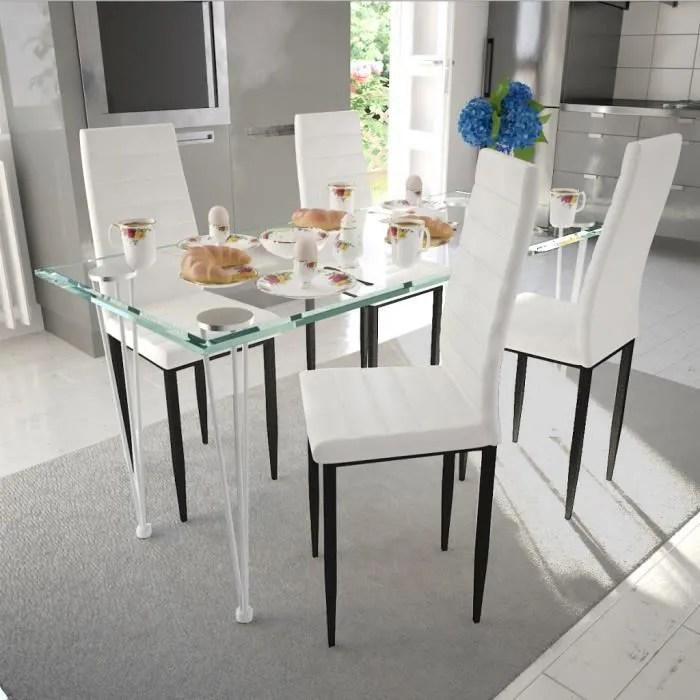 chaise lot de 4 chaises blanches aux lignes fines avec un