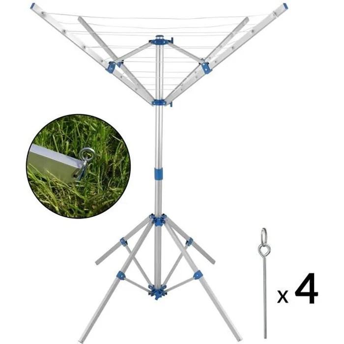 Schoir Linge Parapluie Pliant 4 Bras 4 Pieds Aluminium
