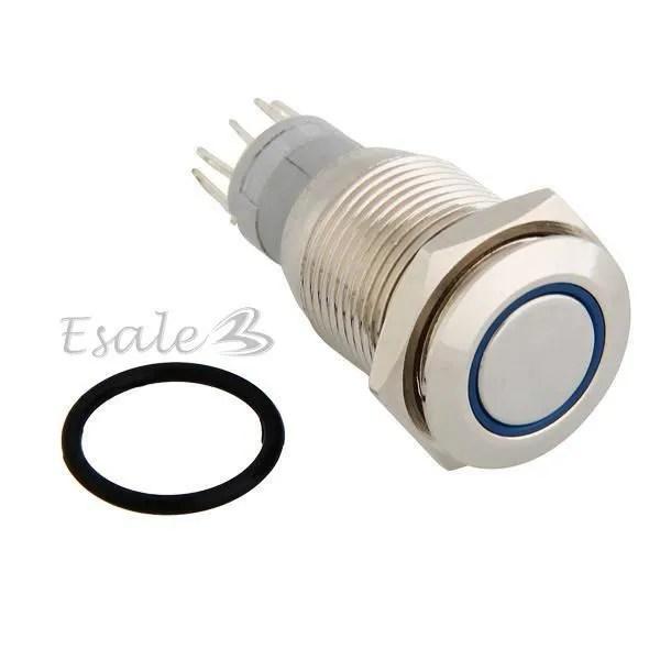 Bouton Poussoir Interrupteur LED Lumire Bleu Pour Voiture